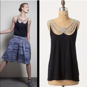 Anthropologie Leifnotes Scalloped Rope Tank Top